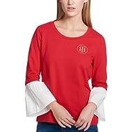 Tommy Hilfiger Womens Embellished Logo Blouse