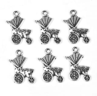 Pomeat 100 Pcs Baby Stroller Charm Parm Baby Carriage Charm Pendant Bulk for Bracelets Jewelry Making