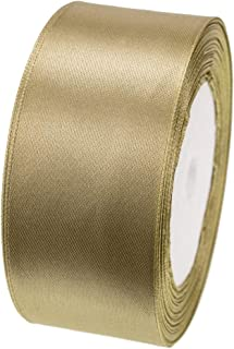 ATRibbons 25 Yards 1-1/2 inch Wide Satin Ribbon Perfect for Wedding,Handmade Bows and Gift Wrapping(Old Gold)