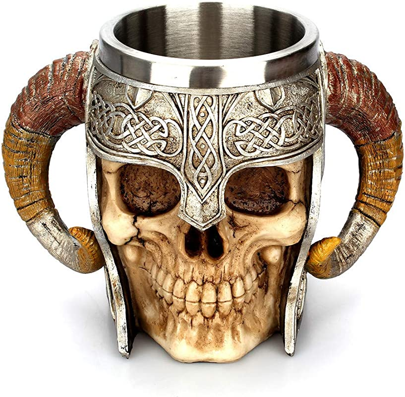 BBT Shop 3D Viking Skull Death Coffee Cup Creative Coffee Mug Resin Tankard Double Wall Christmas Halloween Cup