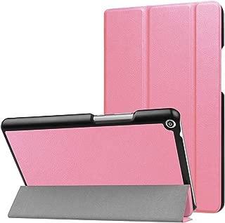 SHIHUI Phone Cases For Huawei MediaPad T3 8.0 Custer Texture Horizontal Flip Leather Case with 3-folding Holder(Black)(Dark Blue)(Orange)(Pink)(Green) etc (Color : Pink)