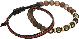 Awareness Duo Matte Smoky Quartz and Leather Bracelet Set
