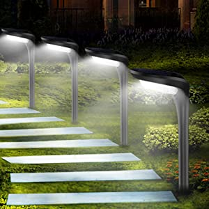 JSOT Solar Garden Lights Outdoor 4 Pack Driveway Lamps 12 LED [Cool White / Warm White] 2 Light Modes Path Lighting for Pathway Landscape Lawn
