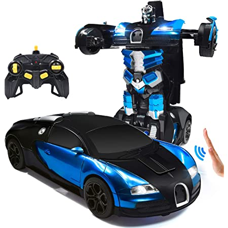 Collision Transforming Robot Suitable for Childrens Home and School Use Car Robot Blue Toy Transforming Car