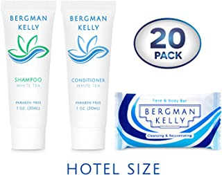 BERGMAN KELLY Soap Bars & Shampoo and Conditioner 3-Piece Set (1 Oz each, 60 Pieces, White Tea), Delight Your Guests with Revitalizing and Refreshing Travel Toiletries Hotel Amenities in Bulk