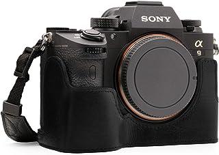 MegaGear Estuche Ever Ready Media Funda Estuche de Base Funda de Pronto Uso de Cuero auténtico con Correa Compatible con Sony Alpha A7 III A7R III A9