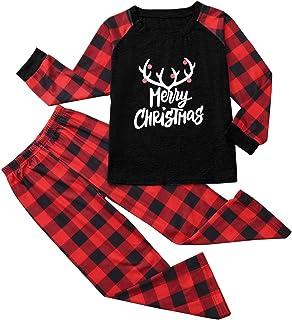 CHMORA Conjunto de pijama de Navidad familiar a juego para niños, ropa de noche de Navidad, ropa de hogar, tops y pantalon...
