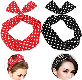 PIXNOR Twist Bow Wired Headbands Scarf Wrap Hair Accessory Pack of 2