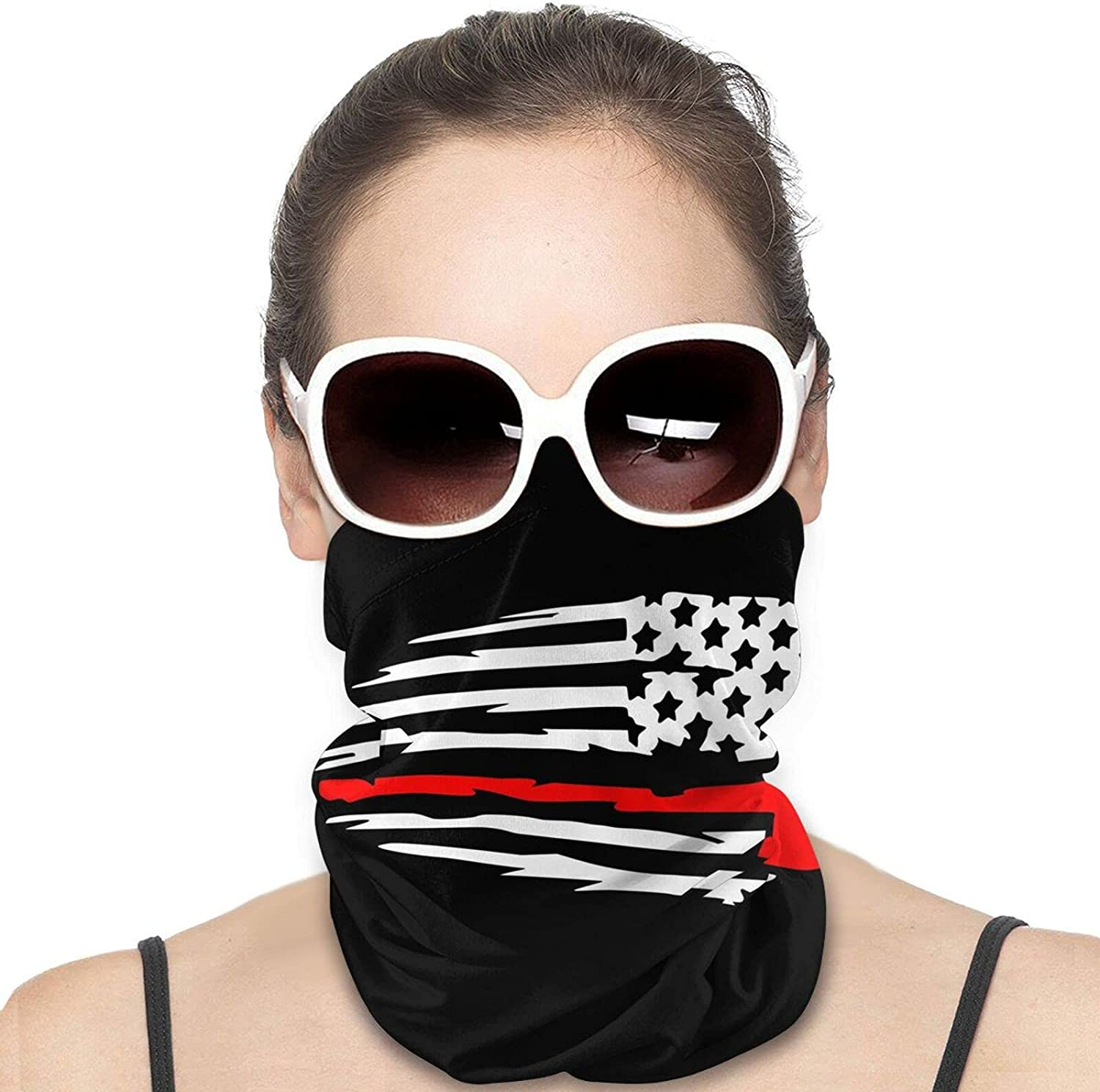 Fire-Fighter Flag Thin Red-Line Axe Round Neck Gaiter Bandnas Face Cover Uv Protection Prevent bask in Ice Scarf Headbands Perfect for Motorcycle Cycling Running Festival Raves Outdoors