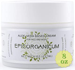 Organic Aloe Vera Moisturizing Cream Body and Face Moisturizer For Acne, Psoriasis, Rosacea, Eczema, Aging, Itchy Dry or Sensitive Skin Care Cream, 8 oz Skin Care Face Natural Cream (8 OZ)