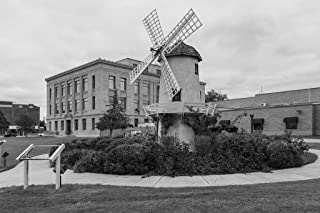 24 x 36 B&W Giclee Print of The little Dutch windmill that steals the show in front of the Prowers County Courthouse in Lamar, the county seat of Prowers County, Colorado. The court 2015 Highsmith 66a