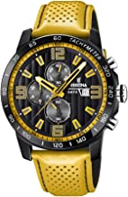 Festina `The Originals Collection` Men`s Quartz Watch with Black Dial Chronograph Display and Yellow Leather Strap F20339/3