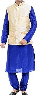 Royal Kurta Men's Silk Blend Kurta Pyjama Nehru Jacket Set