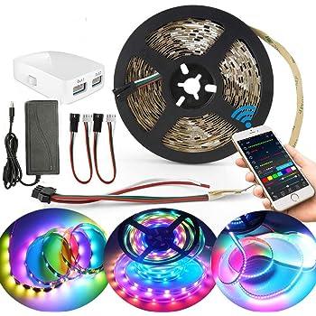 Striscia LED Dreamcolor WiFi,5M RGB 5050 150leds Sincronizzazione Striscia Luminosa LED con Musica, Compatibile con Alexa, Google Assistant, kit Completo
