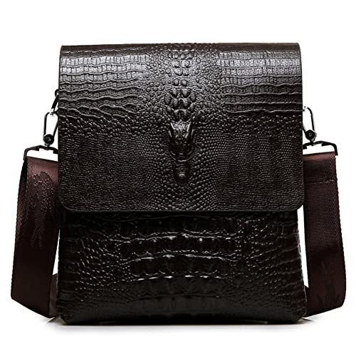 64cb965032 MYMYU Mens Genuine Leather Casual Cross Body Shoulder Bag Business Messenger  Briefcase Handbag With Crocodile Pattern