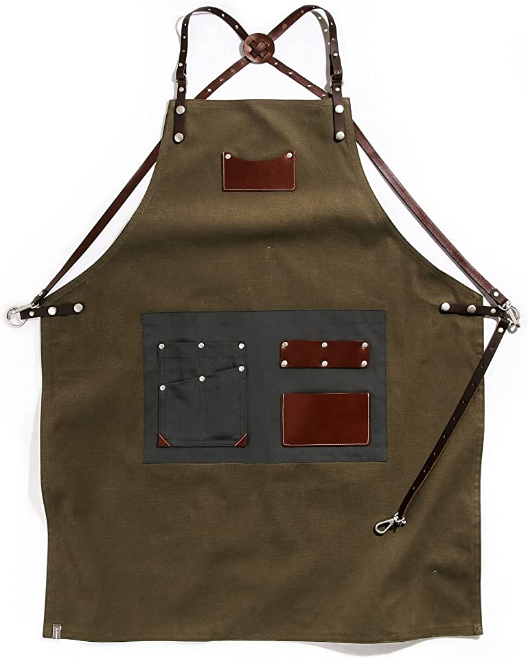 A-mont Customizing Canvas Leather Apron