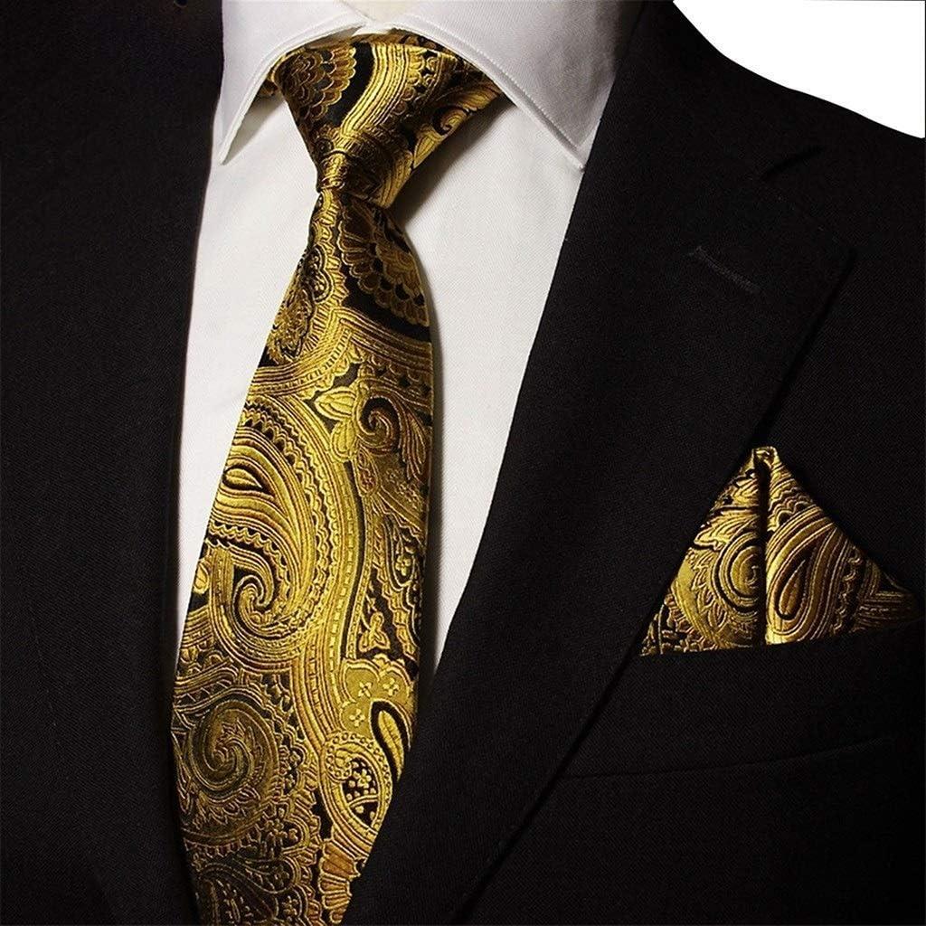 DXIUMZHP Neckties Men's Silk tie Gold Max 56% OFF Suit Three-Piece Pattern Fees free F
