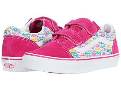 Vans Kids Old Skool V (Big Kid) ((Rainbow Vans) Cabaret/True White) Girls Shoes