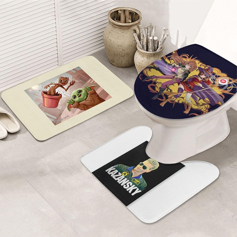 3-Piece Non-Slip Shower Bathroom Explosion unisex Ranking TOP4 U-Shaped Conto Carpet