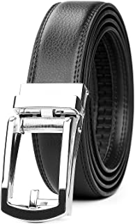 Leather Ratchet Dress Belt for Men Perfect Fit Waist Size up to 50 inches with Automatic Buckle