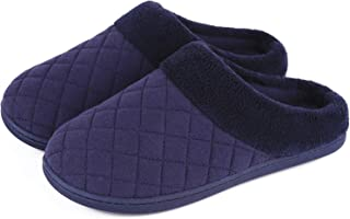 Men's & Women's Comfort Quilted Memory Foam Fleece Lining House Slippers Slip On Clog House Shoes