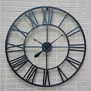 H&M Reloj de pared retro negro números romanos ronda reloj de pared de pared reloj de la tranquilidad simple sala de estar cocina restaurante dormitorio reloj de pared -80cm