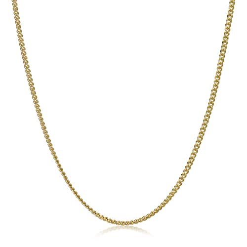 f8a79421568 Amberta 18K Gold Plated on 925 Sterling Silver 2 mm Curb Chain Necklace 16