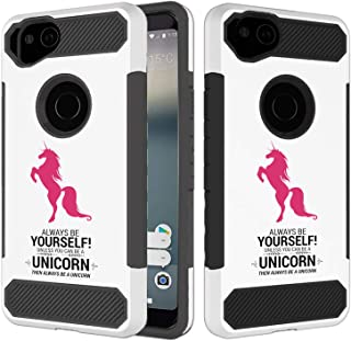 [Inkmodo] Google Pixel 2 XL Case - Unique Dual Layer Full Protection Shockproof Case (Plastic + TPU)- Always Be Yourself Unless You Can Be A Unicorn Design Printed with Embossed Effect