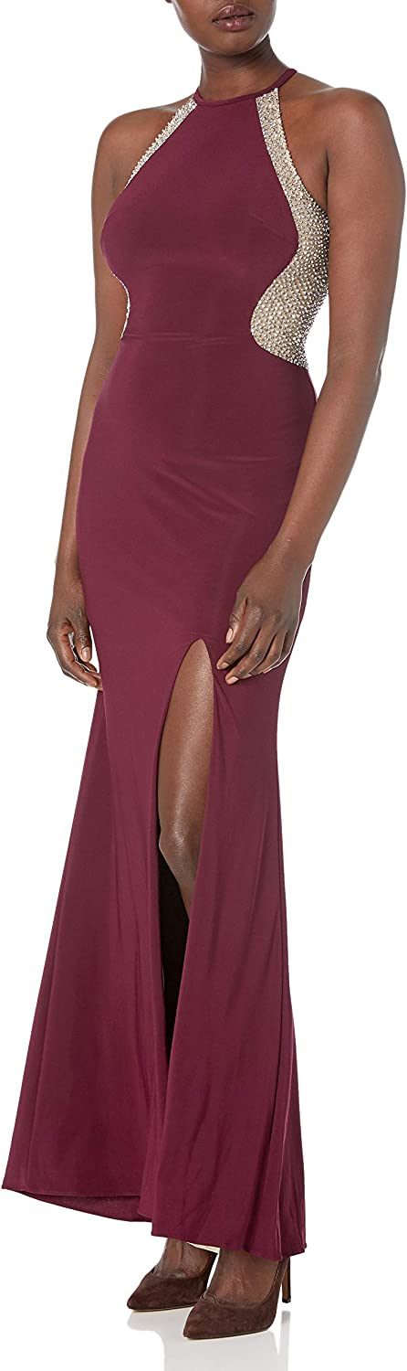 Xscape Women's Long Halter Gown with Caviar Beading