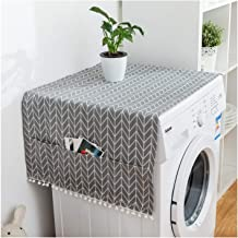 ALIPC Fridge Dust Covers with 6 Storage Pockets,Multi-Purpose Washing Machine Top Cover Single Door Refrigerator Dust Proof Cover-Gray 70x170cm(28x67inch)