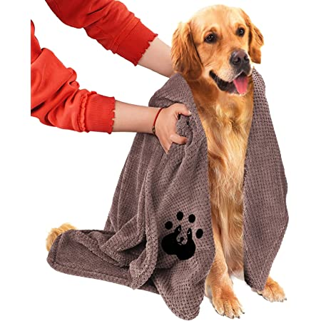 NLUJGYAV Dog Towel Super Absorbent Large Microfiber Embroidered Fast Dry Soft Dog Drying Towels for Large Medium Small Dogs and Cats Pet Swimming Beach Bath Towels