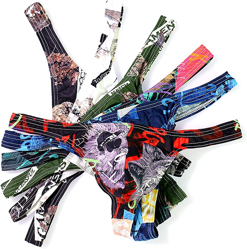 Men Underwear Jockstrap Printed Briefs Ultra-thin Silky Thongs Multipack