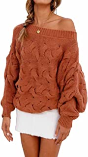 Women's Casual Sexy Off Shoulder Loose Batwing Sleeve Pullover Sweater Knit Jumper
