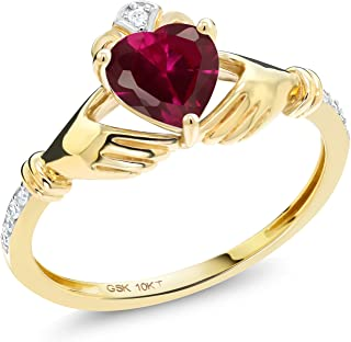 1.02 Ct Irish Celtic Claddagh Red Created Ruby Diamond Accent 10K Yellow Gold Ring