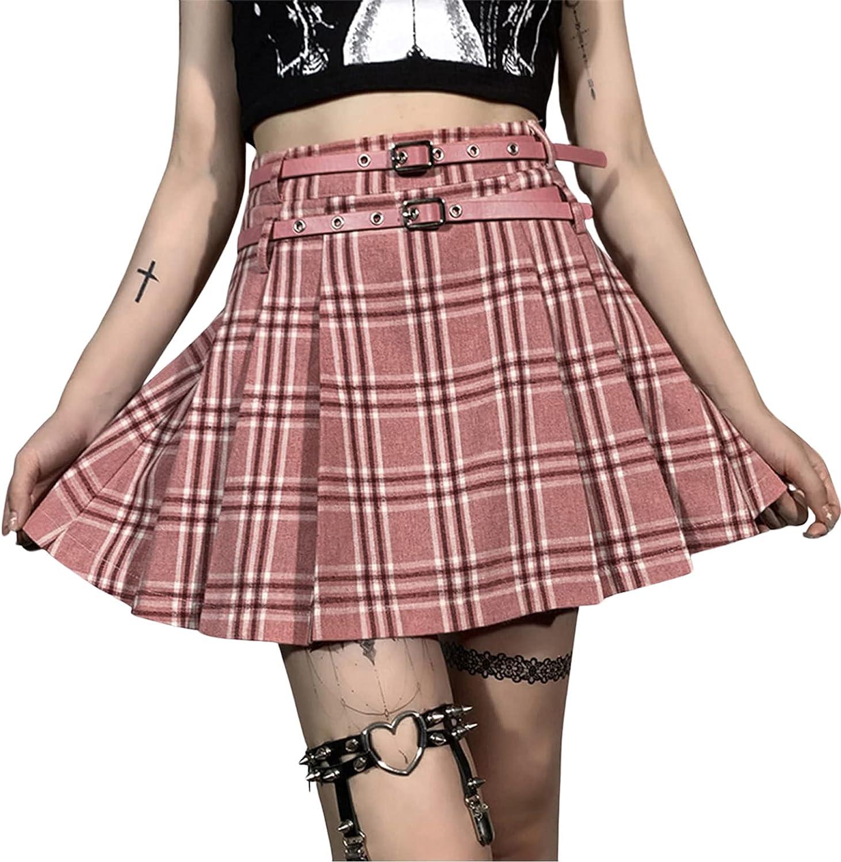 Girls Women Goth Punk High shipfree Max 56% OFF Waisted Plain Pleated Te Skater Skirt
