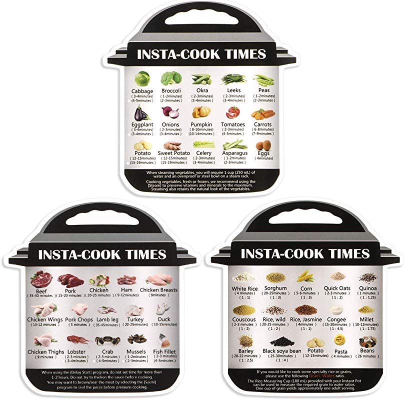 3 Pack Magnetic Cheat Sheet Electric Pressure Cooker Instant Pot Accessories Cooking Time For Quick Reference Guide Magnet Set Sticker Decal With 45 Common Prep Functions