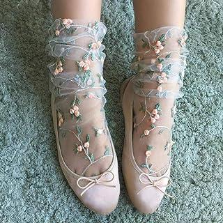 Caramelo kawaii calcetines de las mujeres colores transparentes de malla florales Calcetines Medias Medias de gasa bordado de flores Socks.Lolita señoras de la muchacha para mujeres de la muchacha