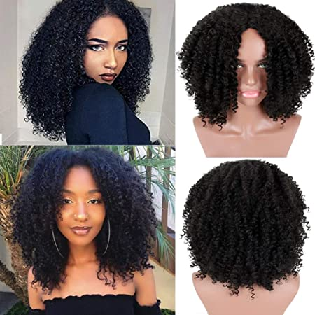 Amazon Com Krsi Short Afro Kinky Curly Hair Wigs For Black African American Women Black Costume Synthetic Wigs That Look Real Black Beauty