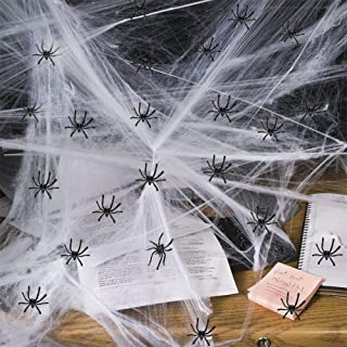 200 sqft Halloween Spider Web Halloween Decorations | Super Stretchable&Real | Cotton Spider Web Fake Spider for Outdoor I...