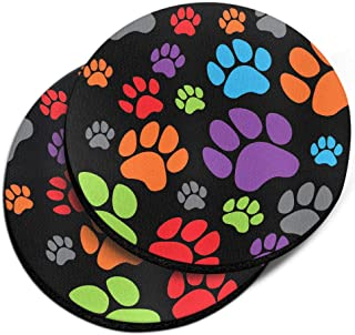 CARIBOU Coasters, Puppy Dog Paws Black Design Absorbent Round Fabric Felt Neoprene Car Coasters for Drinks (2.87 inches), ...