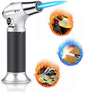 WOSTOO Blow Torch, Cooking Torch Lighter, Refillable Kitchen Butane Torch Lighter with Safety Lock and Adjustable Flame, Perfect for Cooking, BBQ, Baking, Brulee, Creme, DIY Soldering & More