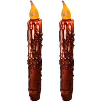 Primitive Burnt Ivory 6 Taper Candle with Timer /& Cast Iron Holder 2 The Hearthside Collection