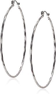 گوشواره حلقه ای بزرگ چکش دار مارک خوش شانس ، نقره ای ، یک سایز