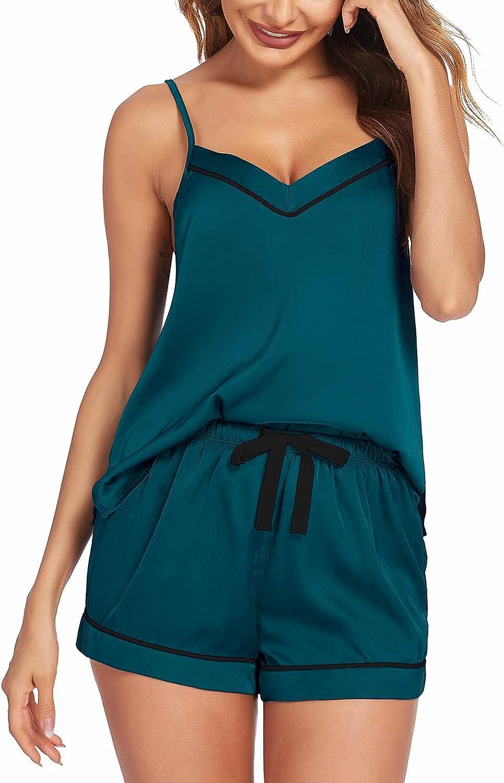 Ekouaer Satin Pajamas Women's Soft Sleepwear Sexy Lingerie Silk Cami Shorts Set Nightwear S-XXL