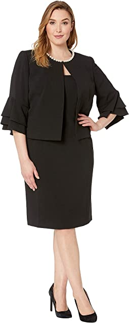 Plus Size Crepe Jacket Dress with Pearl Trim