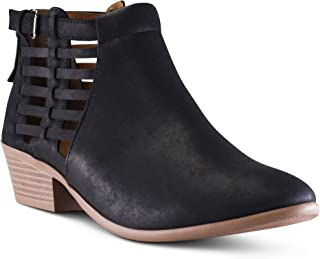 MARCOREPUBLIC Marco Republic Pristina Women's Almond Toe Chunky Block Stacked Heels Low Ankle Bootie Boots - (Black NB - Brown Heels) - 5