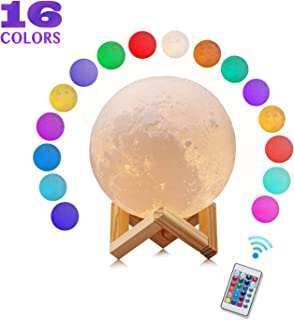 Moon Lamp Night Light - 16 Colors LED 3D Moon Lamp with Stand & Remote, USB Rechargeable LED Soft Night Light for Kids Room, Nursery and Cool Space Decoration(Upgrade Version)