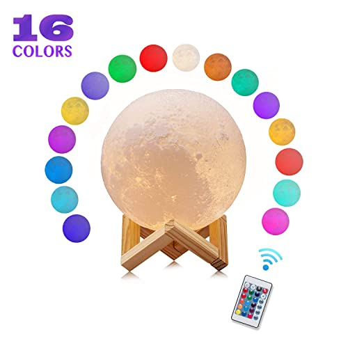 Moon Lamp Night Light - 16 Colors LED 3D Moon Lamp with Stand & Remote, USB Rechargeable LED Soft Night Light for Kids Room, Nursery and Cool Space Decoration(Upgrade Version 4.7 Inch)