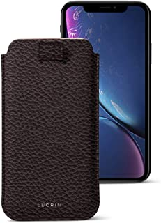 Lucrin - Leather Case with Pull Tab Compatible with iPhone XR and Wireless Charging - Burgundy - Granulated Leather