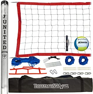 High Strength Portable Volleyball Net System with Mikasa Volleyball and Pump